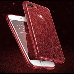 Accessories - Red Glitter Phone Case for IPhone 7/8
